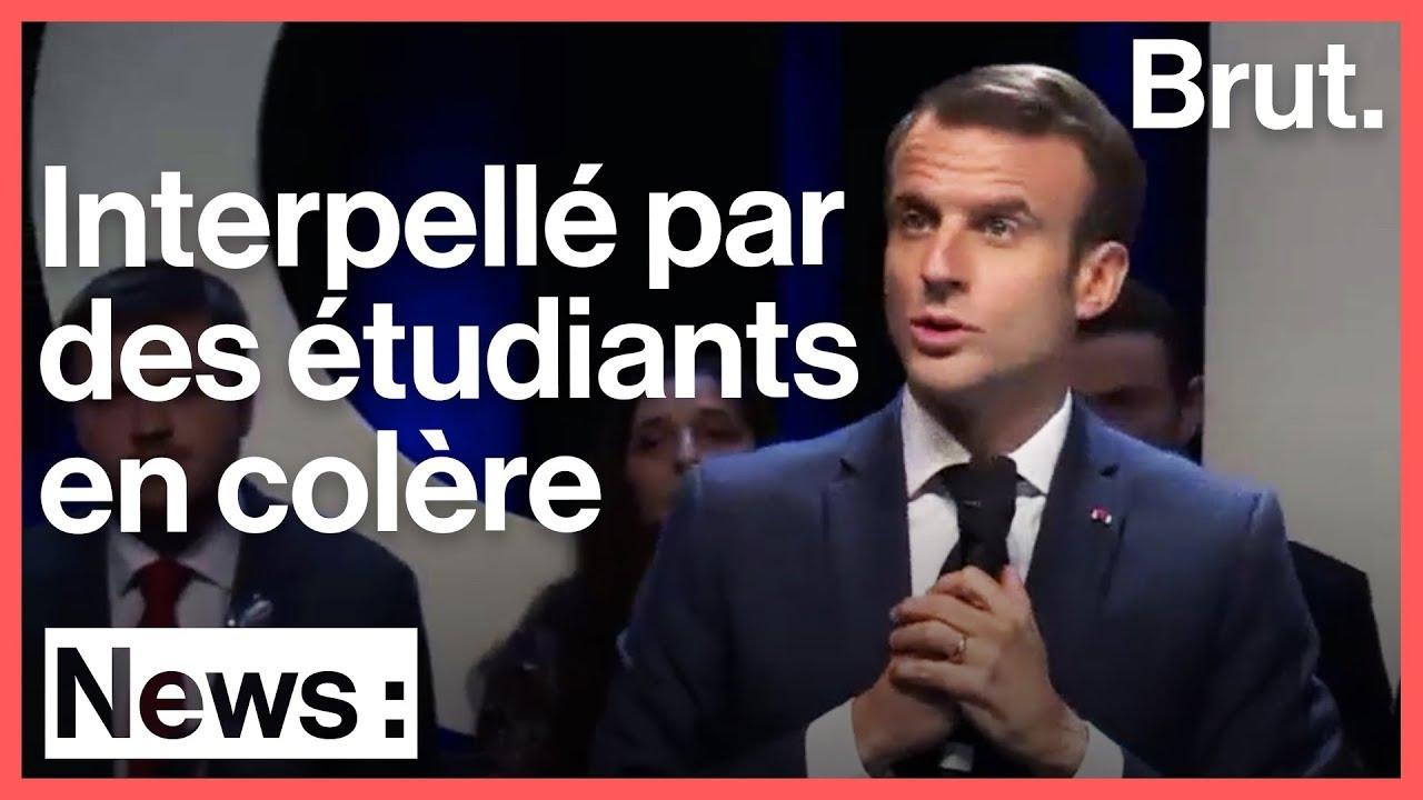 Dans une université belge, des étudiants interpellent Emmanuel Macron