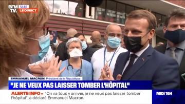 Paris – Des soignants dont le Dr Vania Leclercq du CIH, interpellent Macron à l'Hôpital Rothschild