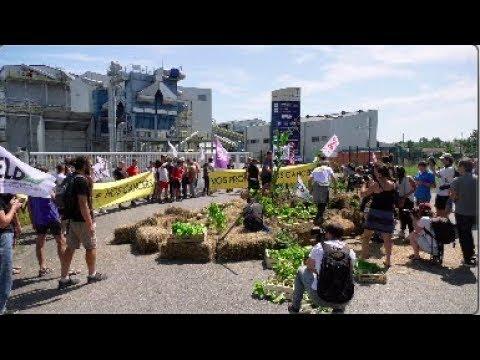 G7 : Des militants bloquent une usine Bayer Monsanto (23 août 2019, Peyrehorade, France)